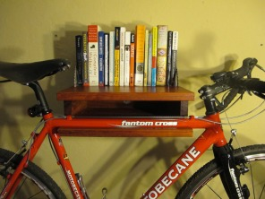 A unique combination bookshelf and book rack