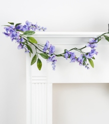 Example of plastic garland with purple flowers, found at Joann's Fabrics